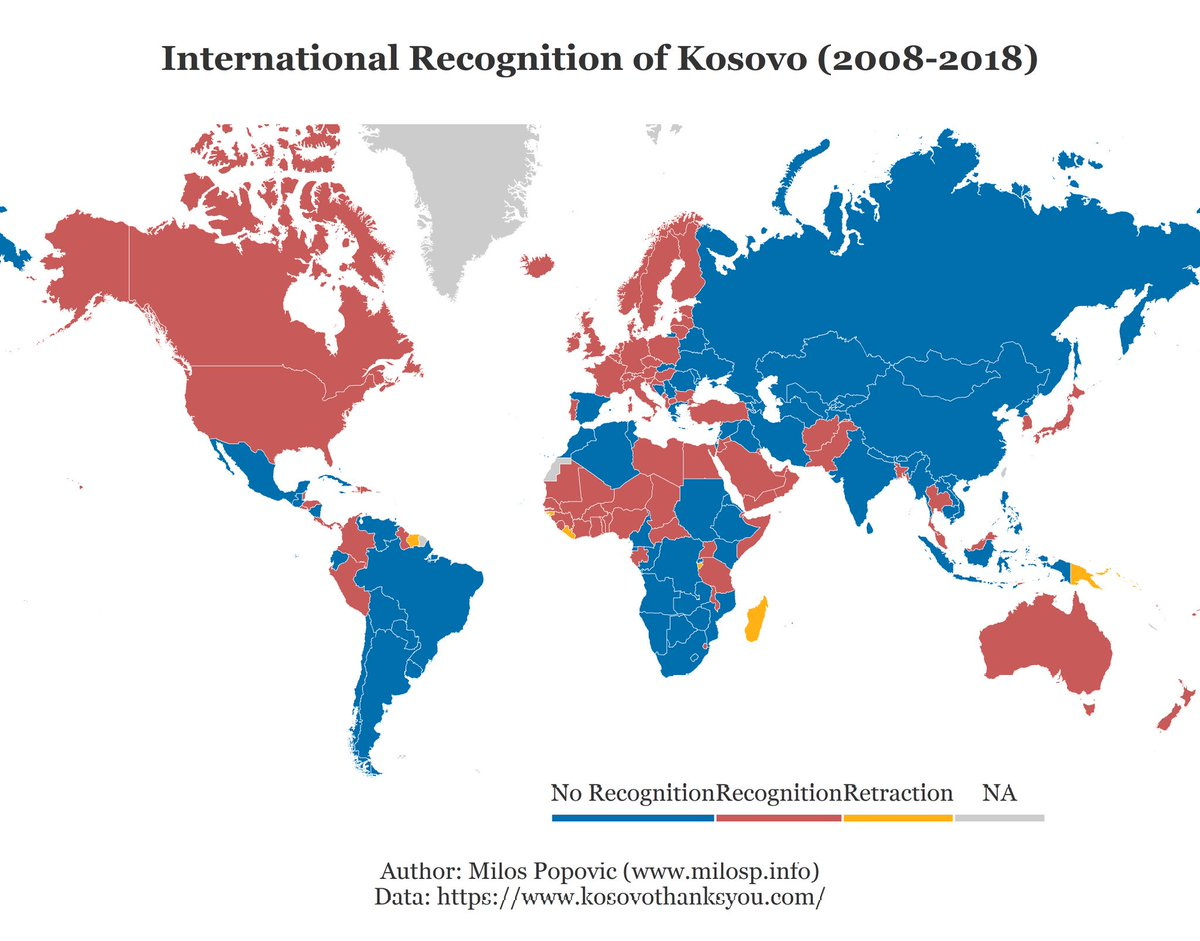 Kosovo declared independence from Serbia 11 years ago on this day.  My map shows countries that recognized Kosovo so far.  #Kosovo #data #dataviz #rstats #maps #mapping