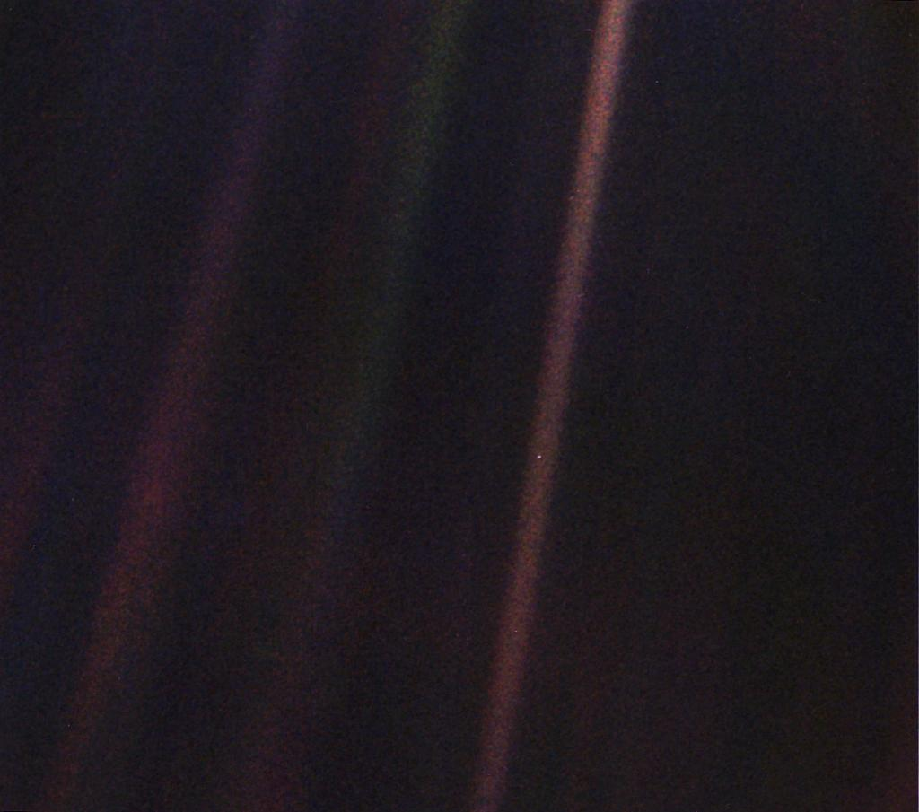 "Almost 30 years ago, our Voyager 1 spacecraft snapped the first-ever family portrait of our solar system — including the image of Earth as just a tiny point of light, known as the ""Pale Blue Dot."" Take a moment to cherish the only home we've ever known:  https://t.co/KqGPAIARLp"