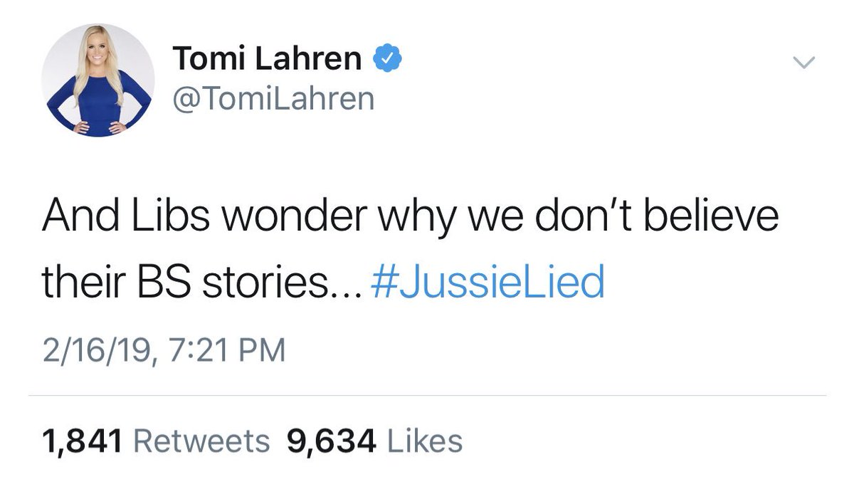 This is exactly what I'm talking about.  @TomiLahren is now using her platform to discredit millions of people because of one man.   Somehow Jussie Smollett being a person from marginalized communities means his individual actions are a reflection of those entire communities.