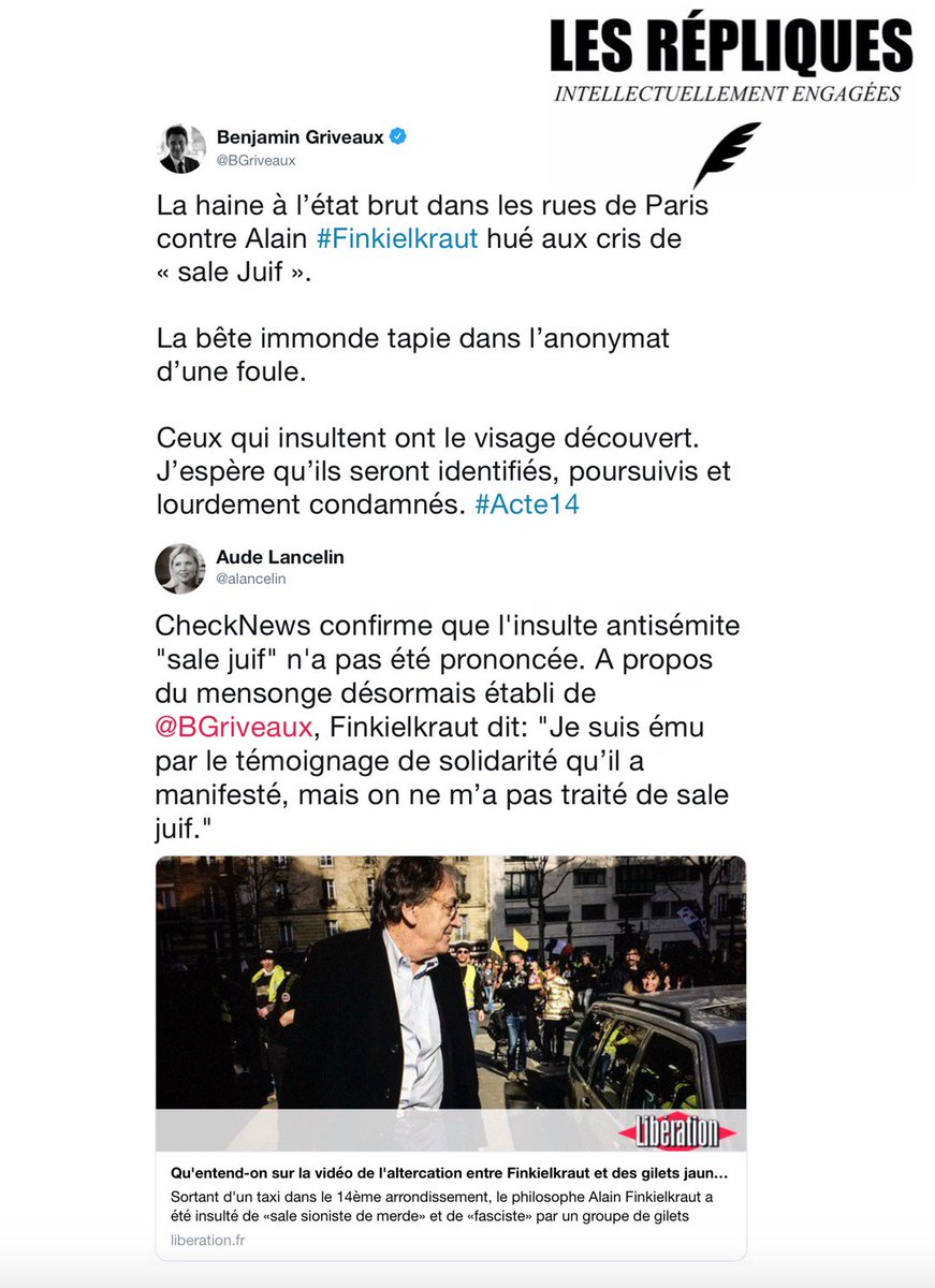 Spectaculaire : Des Gilets Jaunes rencontrent Alain Finkielkraut sans l'agresser ! Dzntq9-XgAAflWo