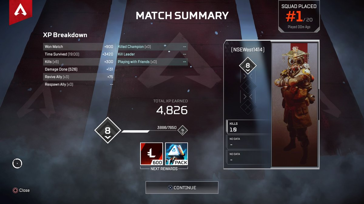 Finally got my first win on console. I think I&#39;m falling in love with Bloodhound like everyone else #PS4share<br>http://pic.twitter.com/9kSmgdyUOR