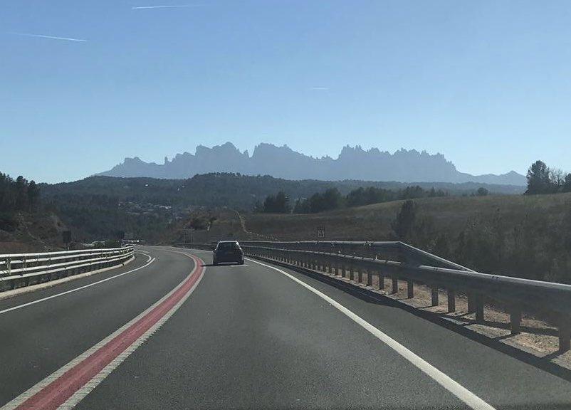 The outline of Montserrat, the multi-peaked mountain range near Barcelona.