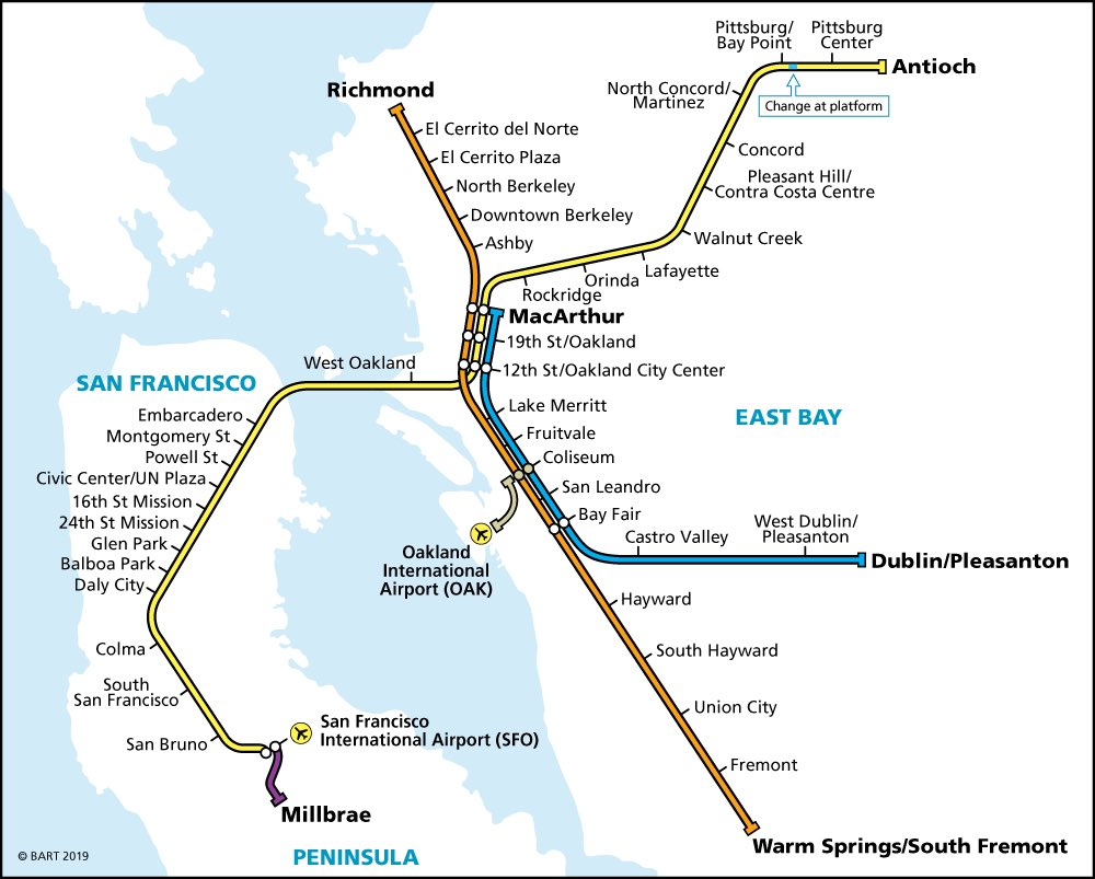 Sunday riders: today is the first Sunday of our new schedule.   For the most part, only one line (Antioch) will provide transbay service but some direct Red + Green line trains will run at select times.   All Lake Merritt-Dublin/Warm Springs Transbay riders transfer at 12th St.