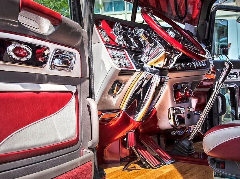 Peterbilt Interior https://theresa-tahara.pixels.com/featured/peterbilt-interior-theresa-tahara.html… Fabulous red interior with hardwood floor.  #printsforsale #trucks #Peterbilt #truckers #trucking #bigrig #drivers #diesel #stickshift #longhaul