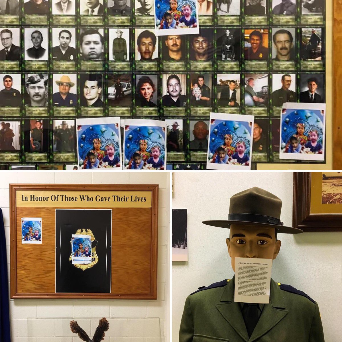"""Yesterday, masked protestors """"occupied & reclaimed"""" (whatever that means) the #BorderPatrol museum (non-profit entity run by volunteers) & defaced our fallen agent memorial (a very sacred monument).  I'll let you draw your own conclusions about the hypocrisy of their actions...🙄"""
