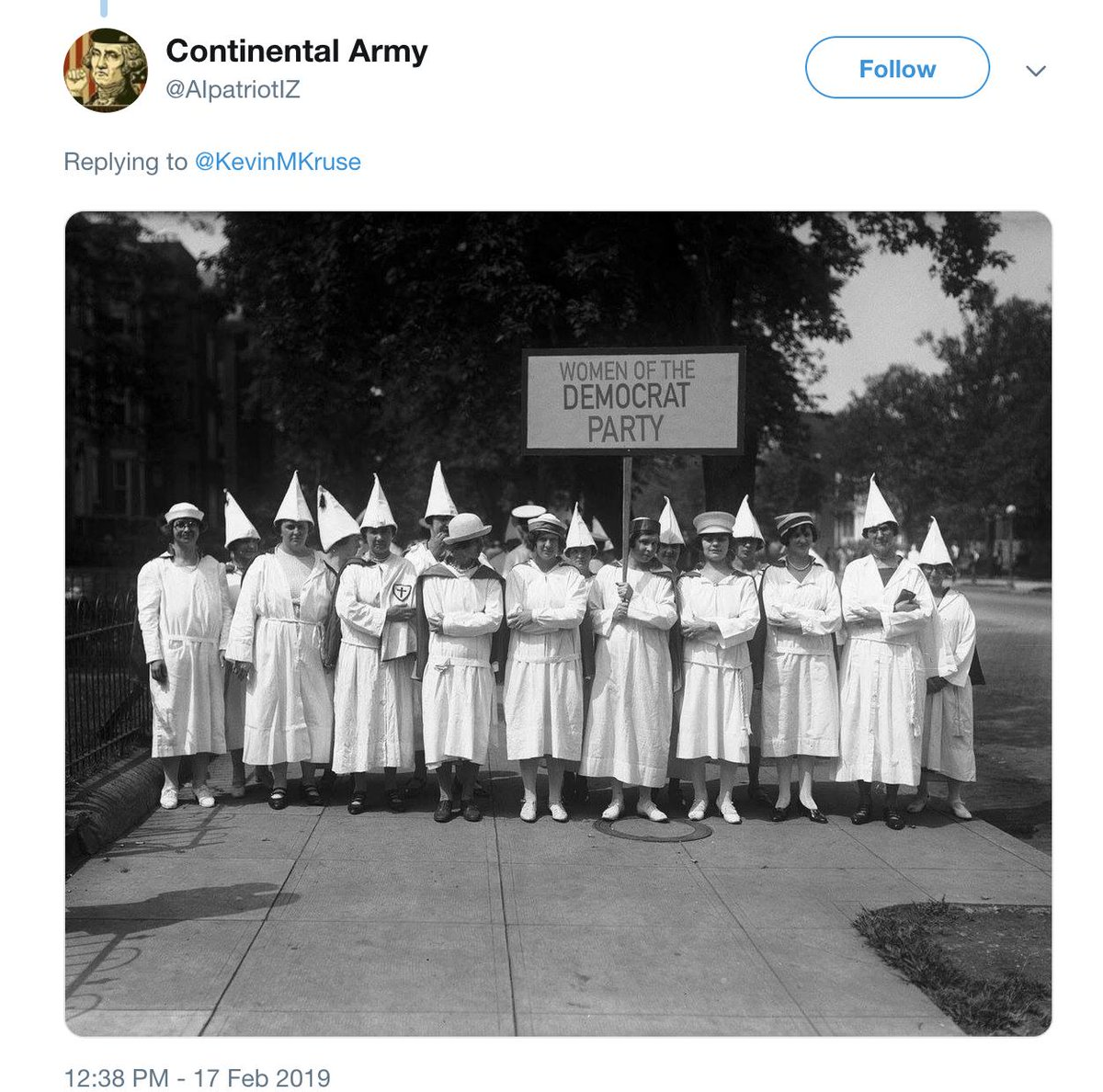 "Hey trolls,  If you're going to Photoshop old pictures of the Klan, remember that no one in the 1920s would've called it the ""Democrat Party"" like a Limbaugh listener would today. That's just a stupid rookie mistake."