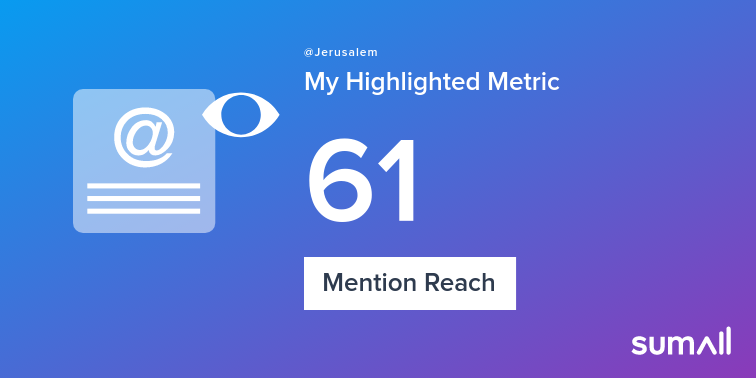 My week on Twitter 🎉: 2 Mentions, 61 Mention Reach, 1 New Follower. See yours with sumall.com/performancetwe…