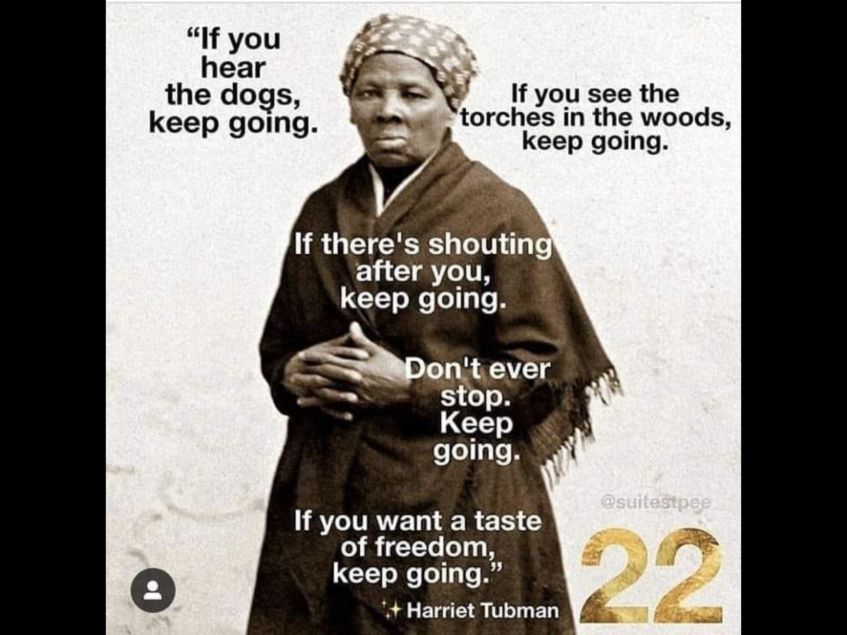 "As the regime escalates its efforts to silence the truth-tellers, draw strength from the #ImmortalWords of #HarrietTubman:  ""If you hear the dogs, #keepgoing. If you see the torches in the woods, keep going. If there's shouting after you, keep going. Don't ever stop. Keep going."""