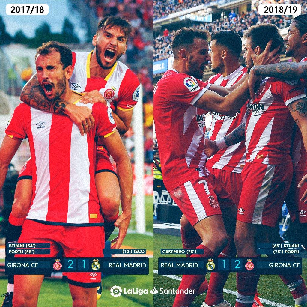 Una temporada después. Mismos goleadores. Mismo resultado.   ¡@CristhianStuani y @portu han vuelto a hacer HISTORIA con el @GironaFC frente al Real Madrid en #LaLigaSantander! ❤