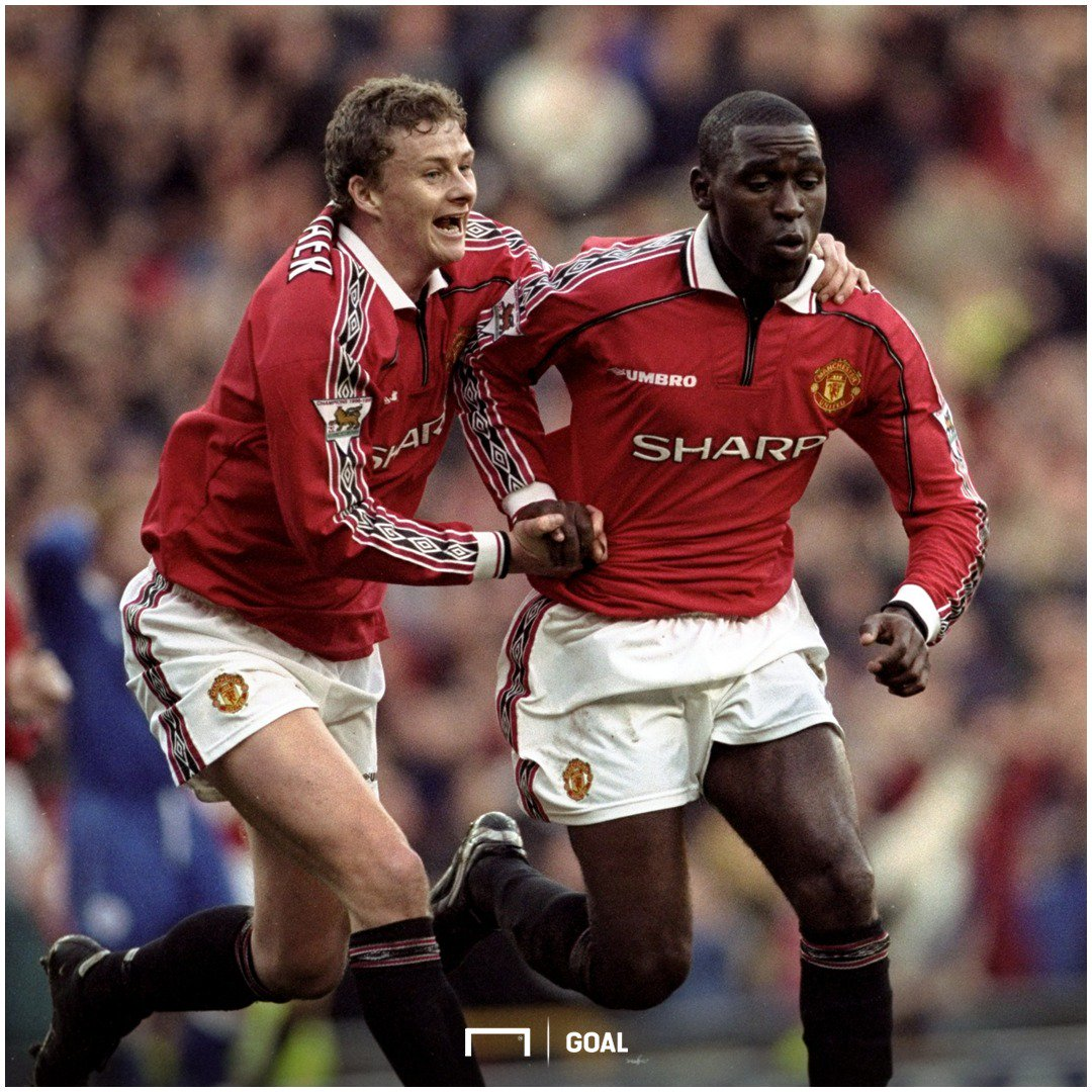 2️⃣0️⃣ years ago today...  Andy Cole scored his 100th Premier League goal in Manchester United's 8-1 win over Nottingham Forest 🔴⚫️  A certain Ole Gunnar Solskjaer managed FOUR goals that day, too 😏