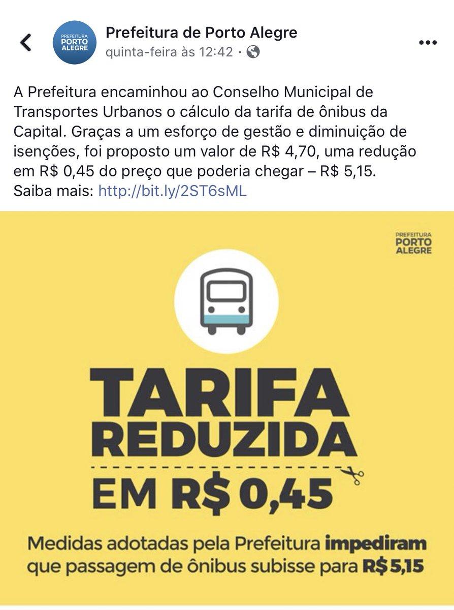 """Brasil virou um hospício.  Prefeitura de Porto Alegre aumentou a tarifa de transporte: R$4,30 para R$4,70  E eles divulgaram dizendo: """"TARIFA REDUZIDA!""""  """"poderíamos ter aumentado muito mais, mas aumentamos só pra 4,70 pq somos muito benevolentes""""  Loucos. Todos loucos!"""
