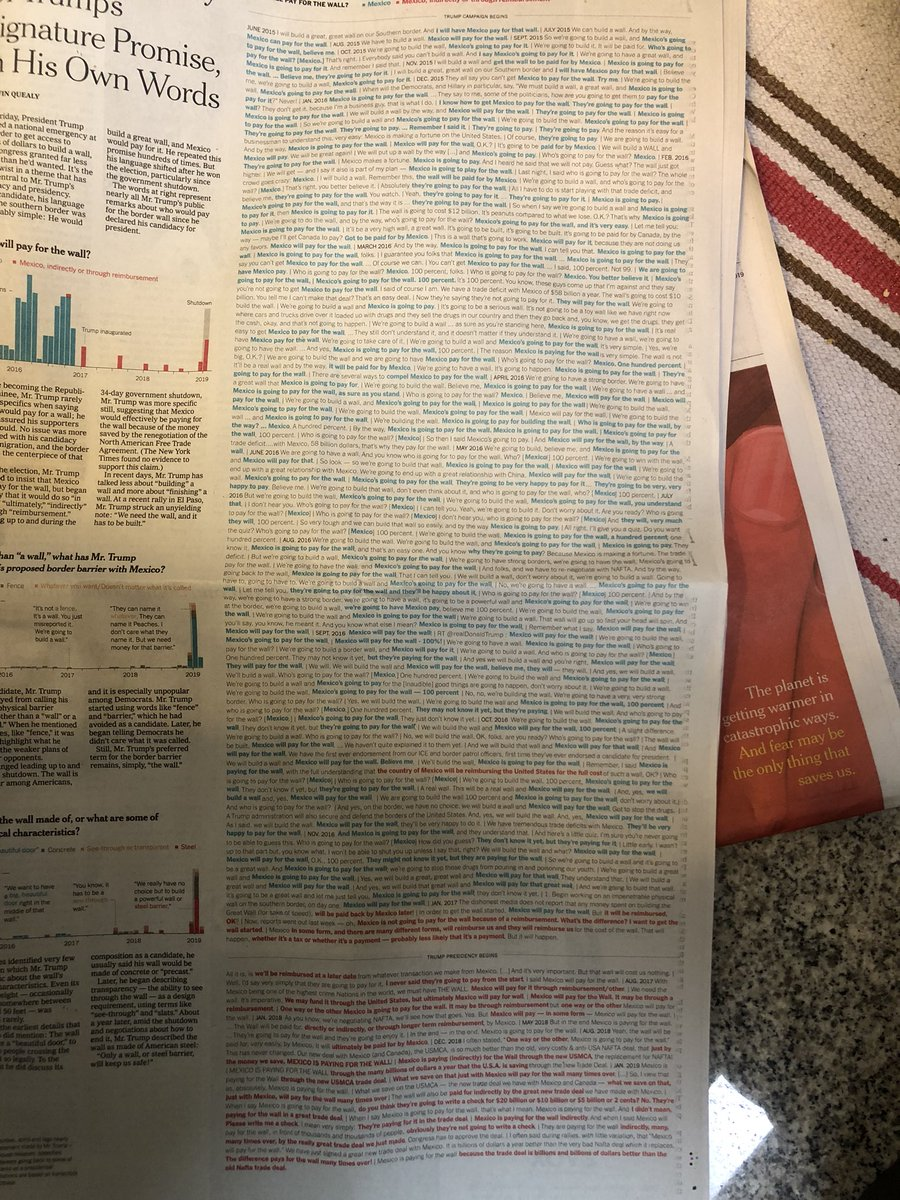 The @nytimes lists every time Trump has promised Mexico will pay for the wall. It takes up almost an entire page of the paper.