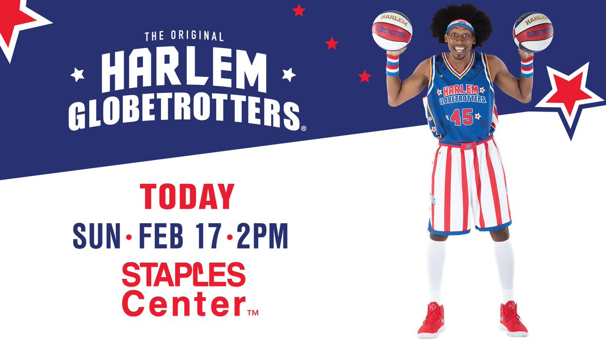 Today we welcome the Harlem Globetrotters back to STAPLES Center. Doors open at 1pm and the game starts at 2pm!