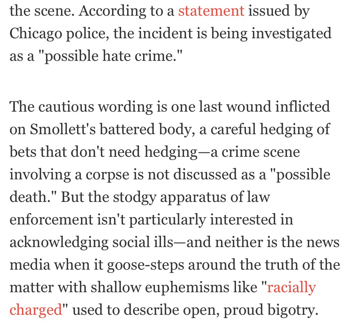 """So maybe one of the lessons we can start with is that describing reported crimes as """"possible"""" or """"alleged"""" is a sound journalistic and epistemological practice, not an attack on victims. https://www.gq.com/story/jussie-smollett-hate-crime/amp?__twitter_impression=true…"""