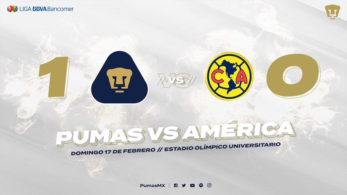¡SE ACABÓ! ¡EL CLÁSICO CAPITALINO ES AZUL Y ORO!  Nuestros Pumas, con mucha garra, entrega y corazón, se quedan con los 3 puntos en casa. Hoy, equipo y afición, defendimos los colores de la Universidad.  #UnidosVenceremos  #SoyDePumas