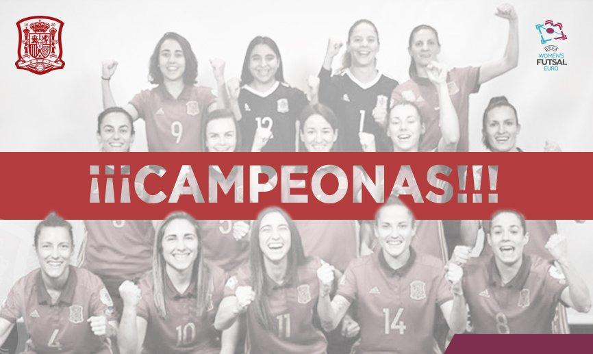 🏆¡¡SOMOS LAS PRIMERAS CAMPEONAS DE EUROPA DE #FUTSAL DE LA HISTORIA!!✌🏻 😱¡¡ESTO ES HISTÓRICO!!😱 Vinimos, jugamos... ¡¡Y VENCIMOS!! ¡RT🔄 para celebrarlo con nosotras y que se entere todo el mundo!🎉 #WEUROFutsal #SomosFútbol @rfef