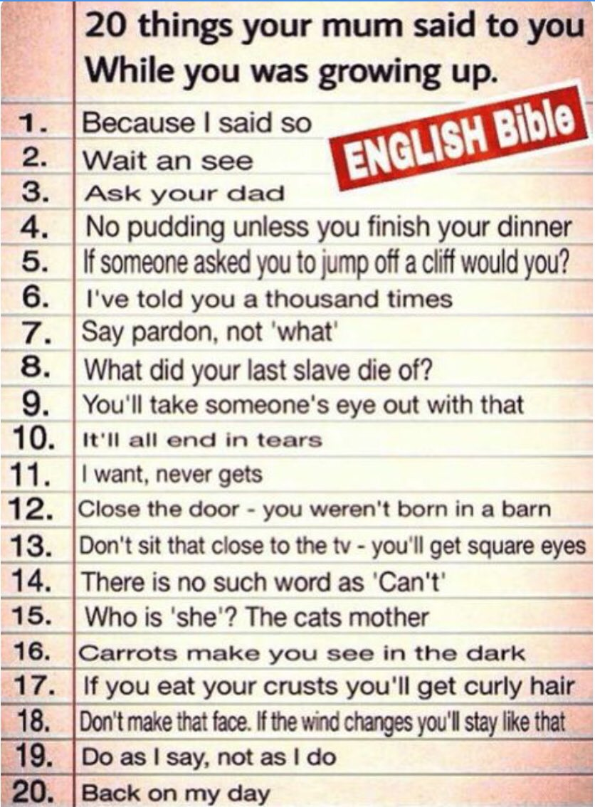 How many of these were said to you?