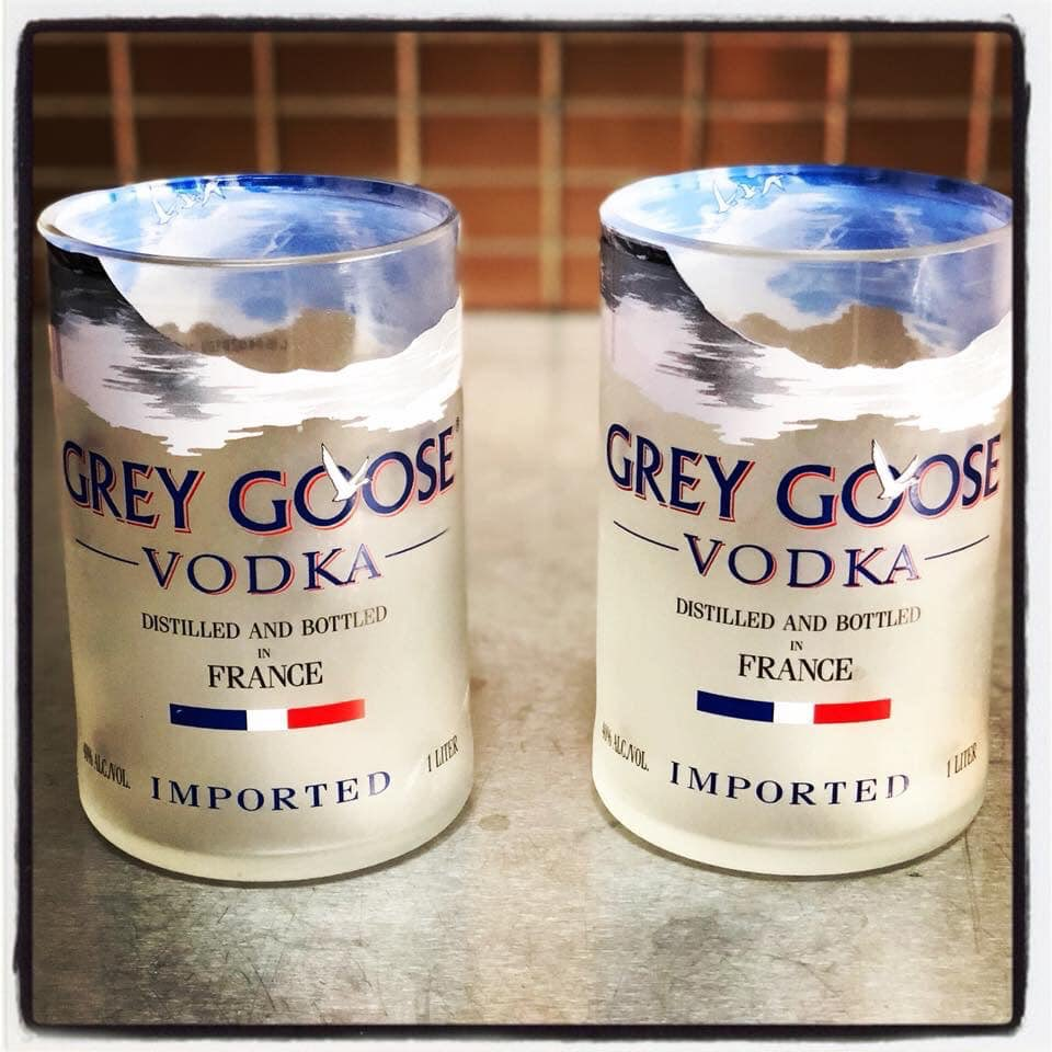 #HandmadeHour 4 Upcycled Grey Goose Bottle glasses for only £30. Cheapest on the internet. http://www.theupcyclejewellerycompany.co.uk/product/upcycled-grey-goose-vodka-bottle-tumblerhigh-ball/ …