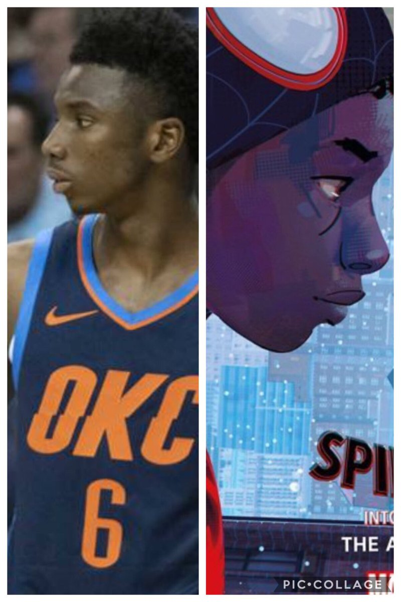 Am I the only one who thinks @hamidoudiallo is the real life Spider-Man? 😳❤️ #SpiderVerse #okcthunder #dunkchampion