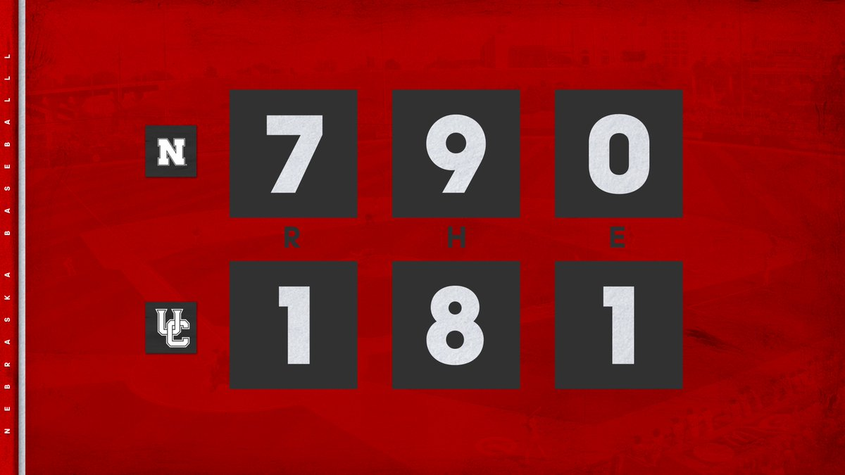 BALLGAME!  Matt Waldron shuts down the Highlander rally, and the Huskers pick up a series win in Riverside, CA ‼️  W: Gomes (1-0) L: Priddy  #GBR ⚾️