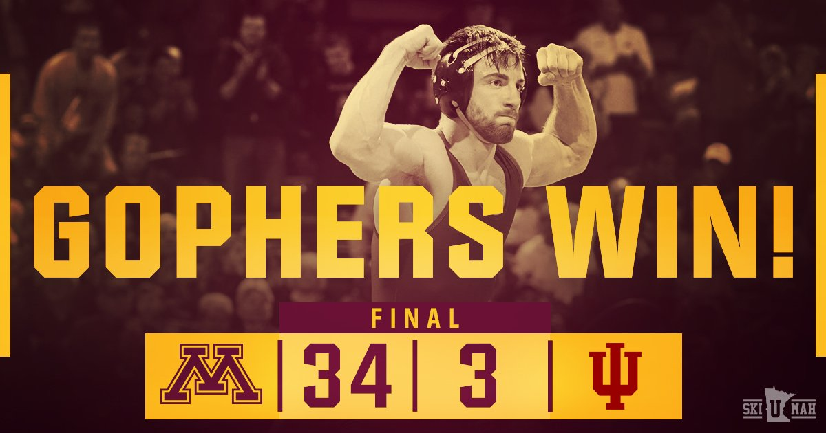 #Gophers final dual at the Pav for the season is a victory.