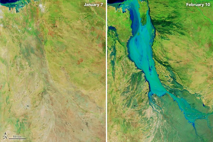 Relentless rainfall pounded Queensland for weeks, causing destructive flooding in the region. When the clouds dispersed, our @NASAEarth satellites got a clear look at the damage caused across the Australian state.   See the full report 📋:  https://t.co/NrITdLzYHq