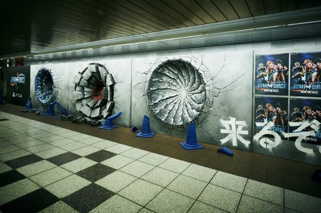 """【世界観を再現】『JUMP FORCE』発売記念、ルフィ達の""""激闘の証""""が新宿駅に現る https://t.co/W7JfHRlRVZ  ルフィの「ゴムゴムの火拳銃」、悟空の「かめはめ波」、ナルトの「螺旋丸」による大穴が出現した。"""
