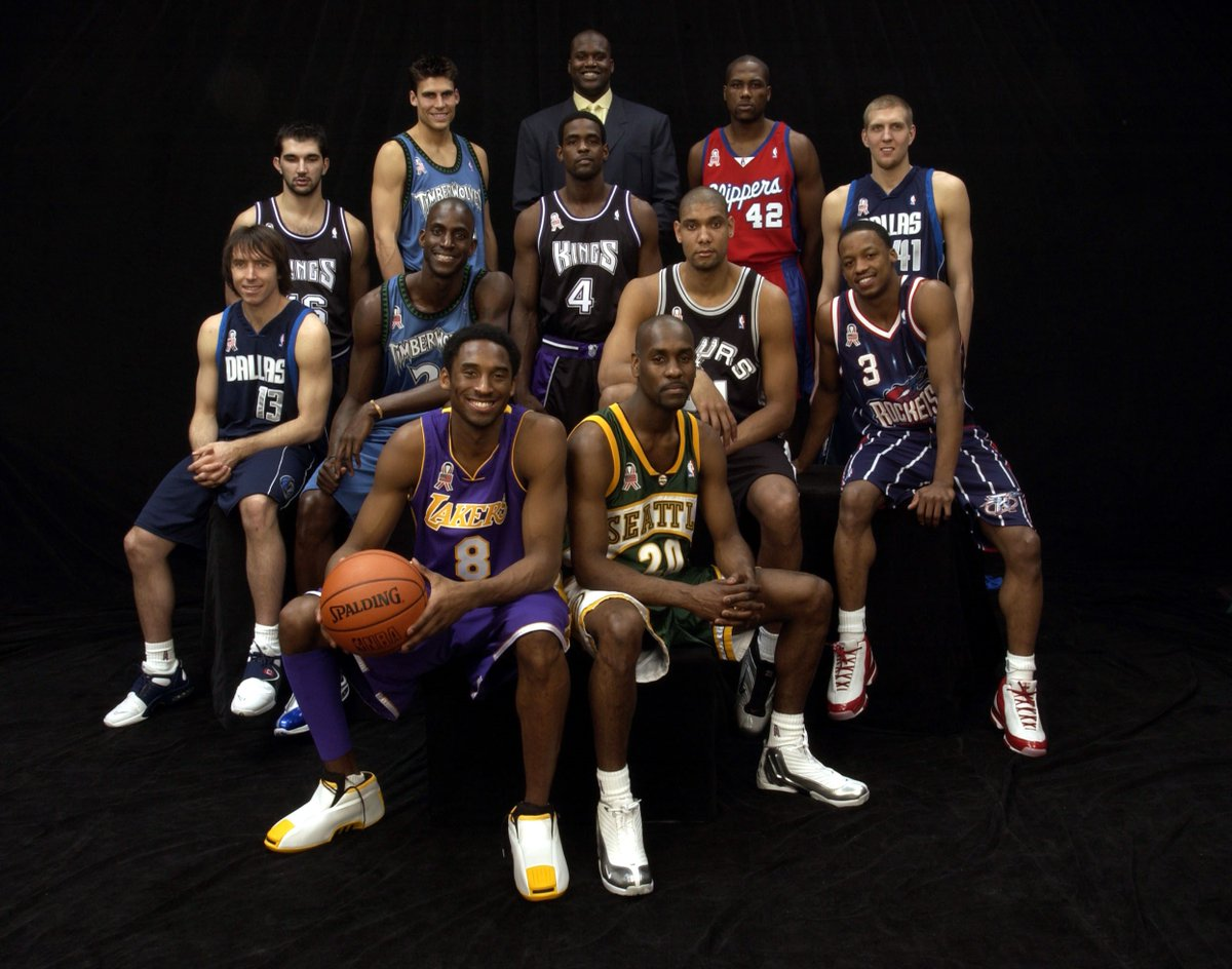 Flashback: Dirk Nowitzki's first @NBAAllStar appearance; Feb. 10, 2002 Philadelphia; West team portrait; Dirk scored 12 points in 24 minutes in the West's 135-120 victory over the East (MVP: Kobe Bryant); The 68th @NBAAllStar Game on @NBAonTNT now