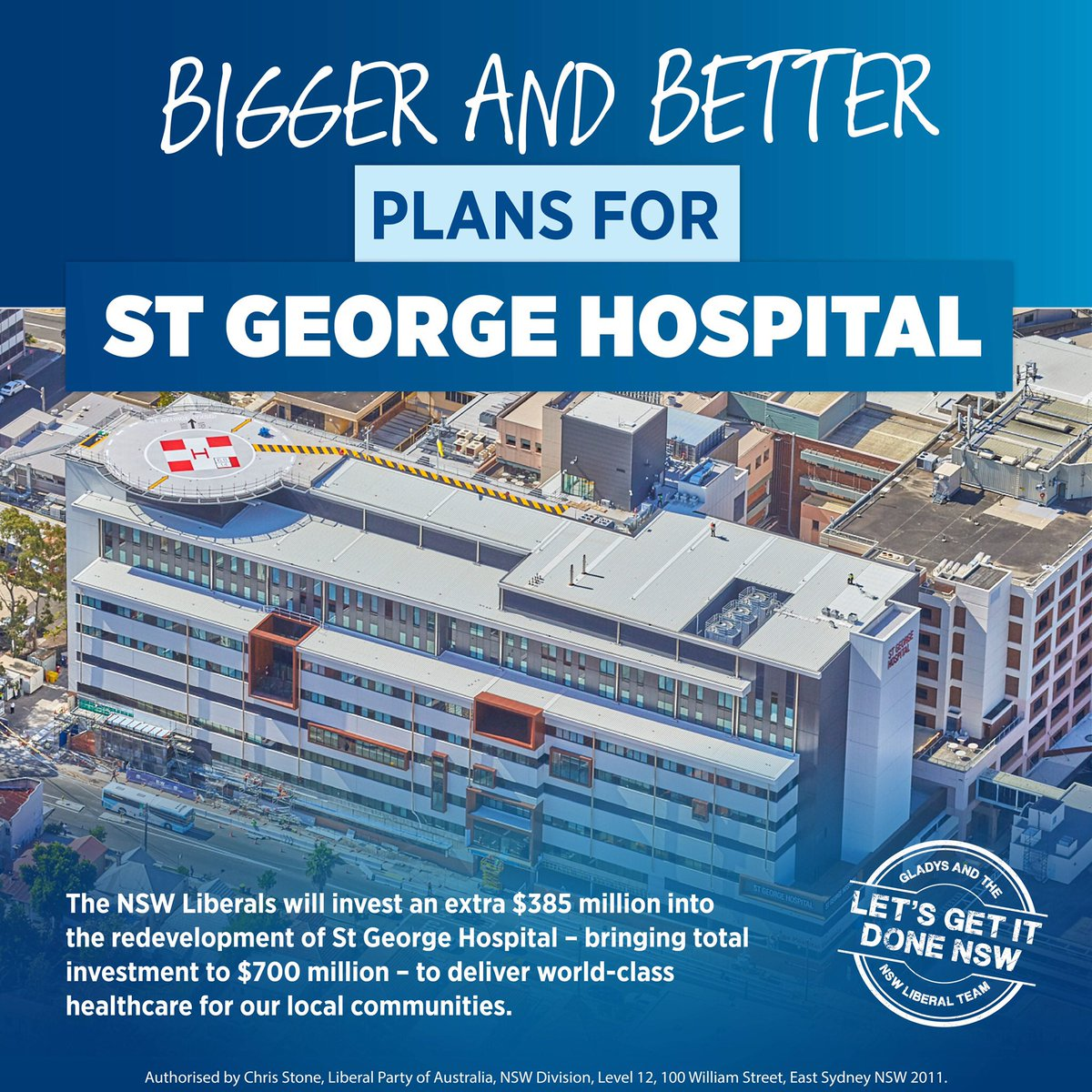 The NSW Liberals will invest an extra $385 million into the redevelopment of St George Hospital – bringing total investment to $700 million – to deliver world-class healthcare for our local communities. #nswpol #LetsGetItDoneNSW