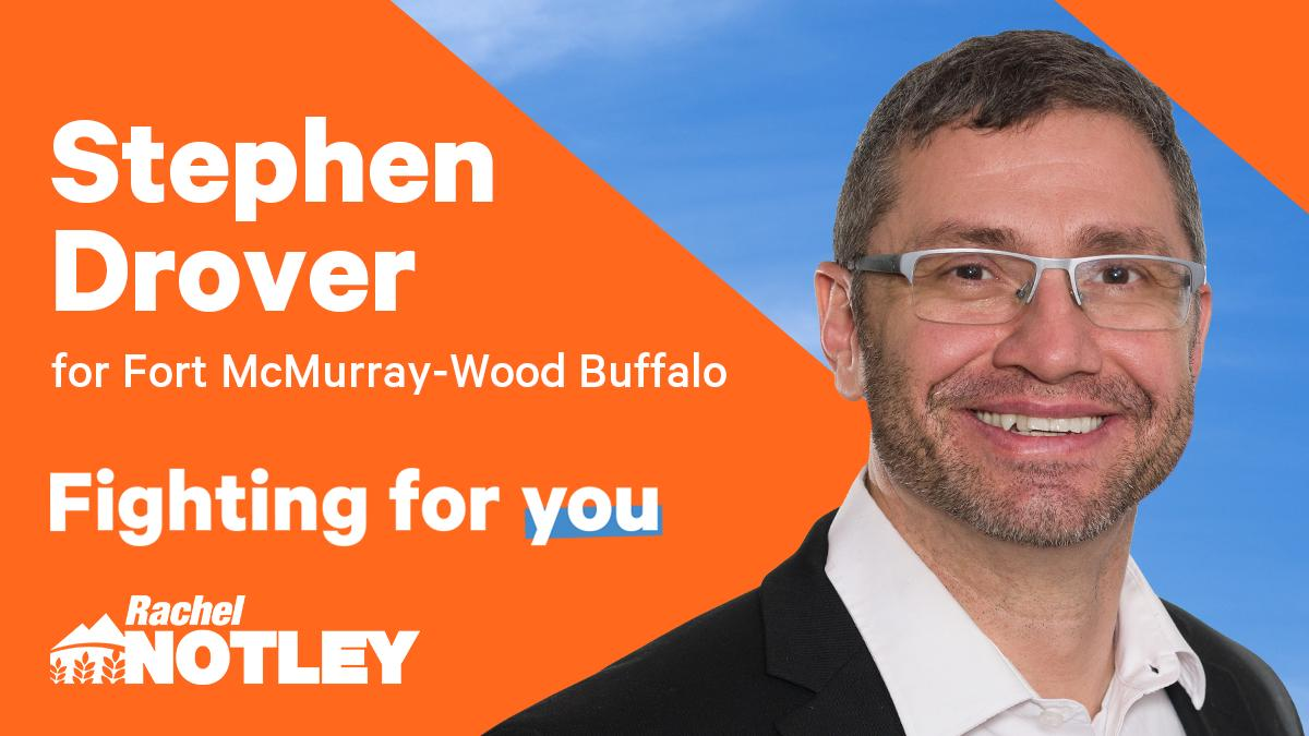 "RT albertaNDP ""Congrats to Stephen Drover! Our nominated candidate for Fort McMurray-Wood Buffalo. #ableg #abndp #abpoli #YMM """