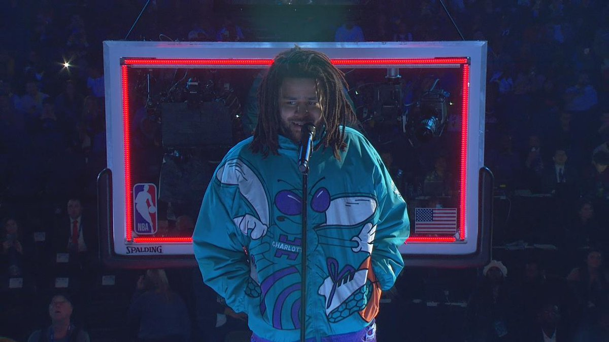 J. Cole brought out the old school Hornets jacket. Cold.