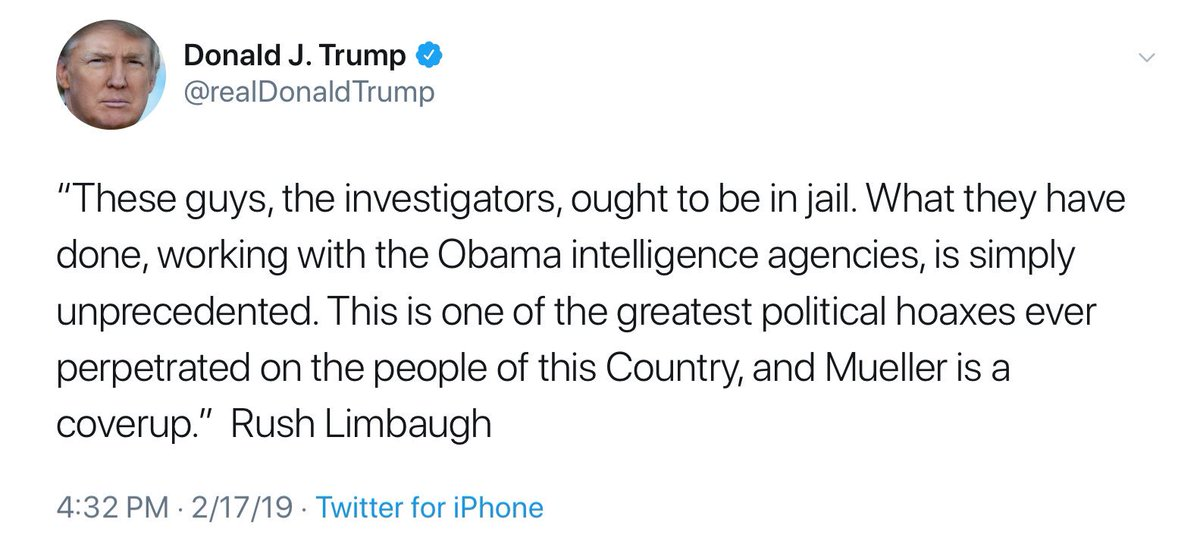 Bob Mueller is a combat decorated Marine with a life of public service & 1 wife.  Rush Limbaugh is a college dropout who's had a drug problem & 4 wives (he & @realDonaldTrump combine for 7).  Trump avoided the military with a sore foot, Rush with a sore ass.  I know who I trust.