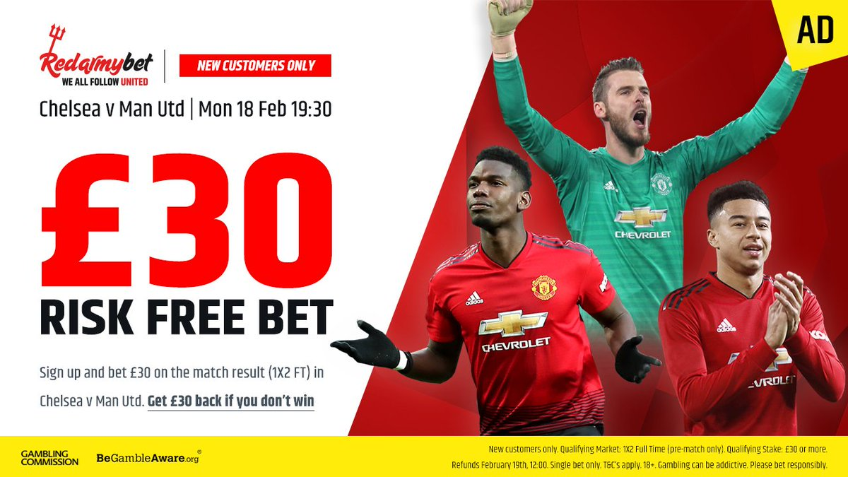 Risk free bet for #CHEMUN  Sign up to @redarmy_bet and bet £30+ on the Chelsea vs. Man Utd result (1x2 FT).  If you lose get £30 back  Head over to http://bit.ly/2GI2H6r   If you wish to support MUST please don't forget to select 'MUST' from the drop down list
