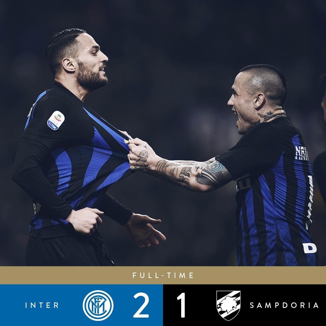 Em partida disputada a #Internazionale derrota a #Sampdoria por 2-1 no #GiuseppeMeazza e diminui a distância para o Napoli na briga pela vice liderança do #Calcio #ForzaInter #InterSampdoria #Scudetto #InterIsHere #Nainggolan #Nerazzurri @Inter