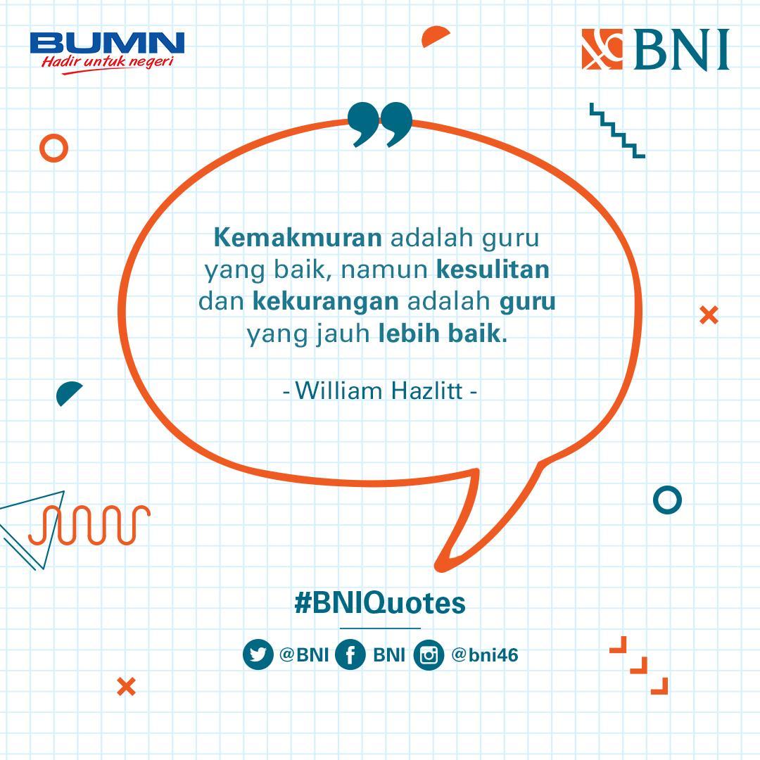 Kemakmuran dan kekurangan adalah dua hal yang saling bertolak belakang. Namun, hanya mereka yang mampu menghadapi kekurangan lah yang bisa menjaga kemakmuran. #BNIQuotes
