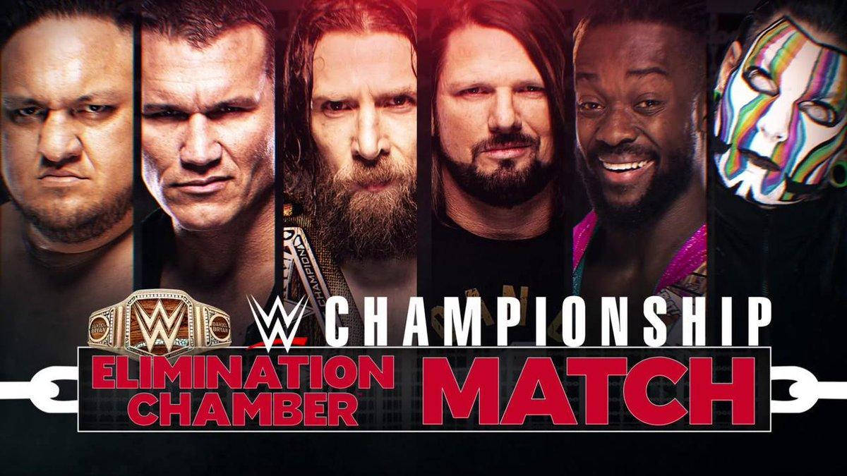 ALSO TONIGHT: #TheNew @WWEDanielBryan defends his #WWEChampionship inside the Elimination Chamber against @SamoaJoe @RandyOrton @AJStylesOrg @TrueKofi & @JEFFHARDYBRAND!  #WWEChamber