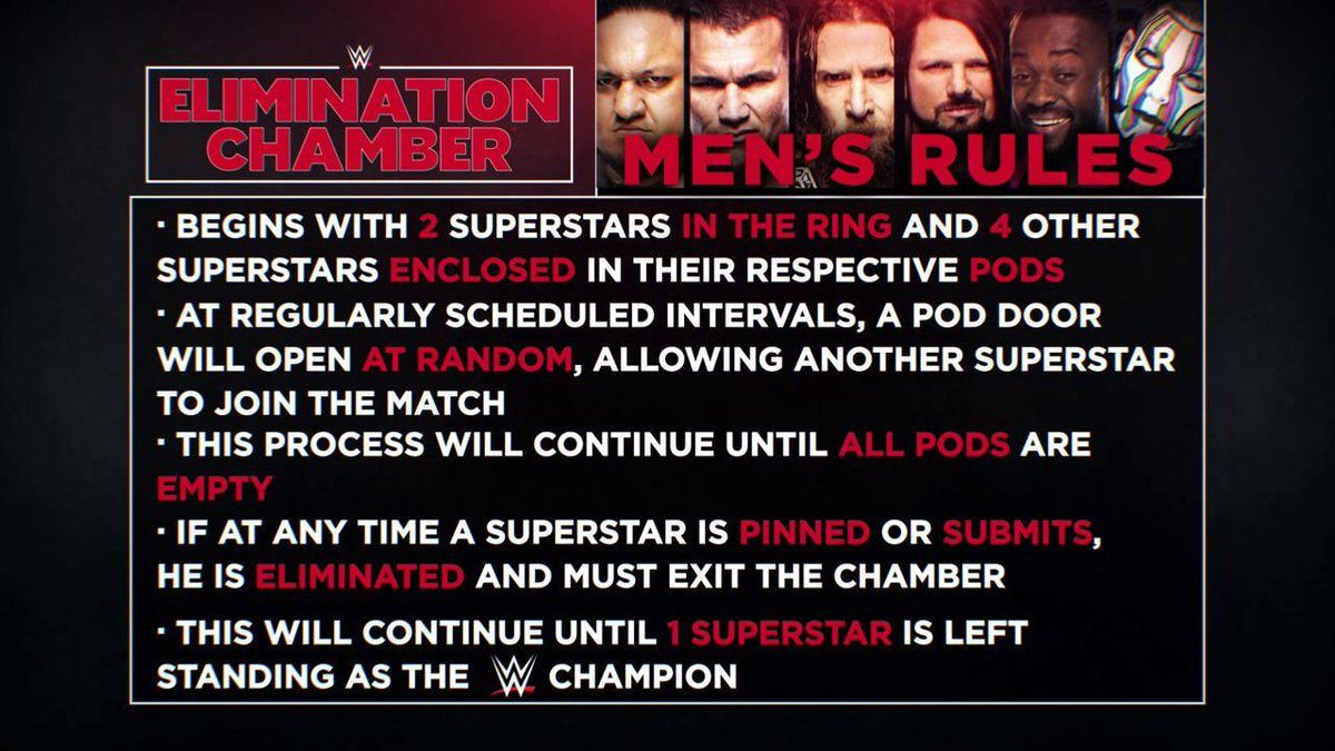 Never hurts to brush up on the rules for the #WWEChampionship Elimination Chamber Match tonight... #WWEChamber