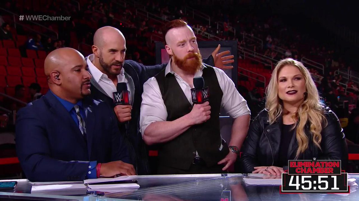 THE BAR just got raised on this #WWEChamber Kickoff panel, because @WWECesaro & @WWESheamus are here!