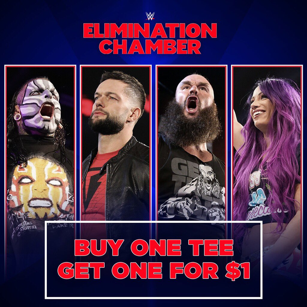 Buy 1 tee, get 1 for just $1 at #WWEShop! #WWE #WWEChamber https://t.co/w1puJLsTNq