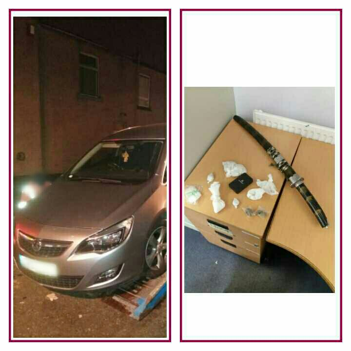 vehicle failed to stop for our motorway patrol from Heywood to Rochdale at speeds over 90mph.  vehicle was abandoned in Rochdale. showen to have no ins no mot no vel etc  however if you want your 150 wraps of heroin, your sword & other bits & pieces back give us a ring