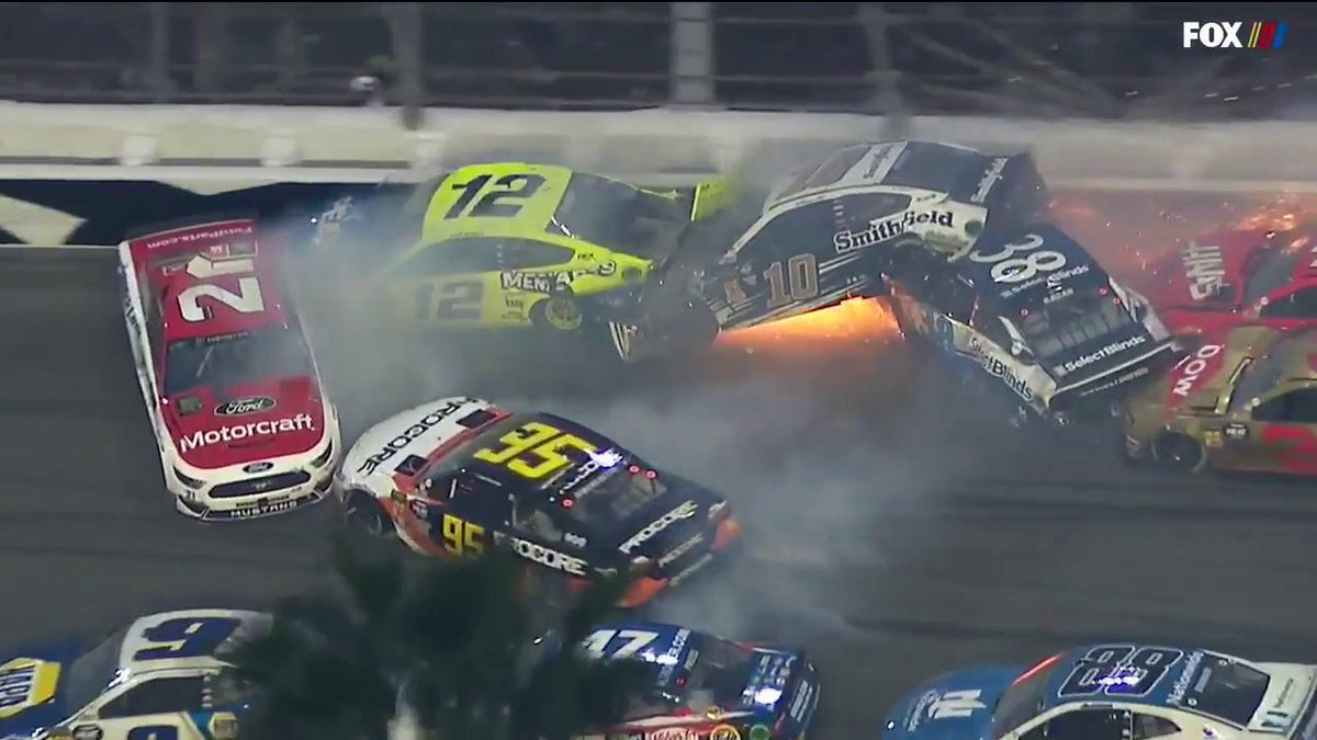 Massive crash at the Daytona 500 takes out 18 cars with just 9 laps to go