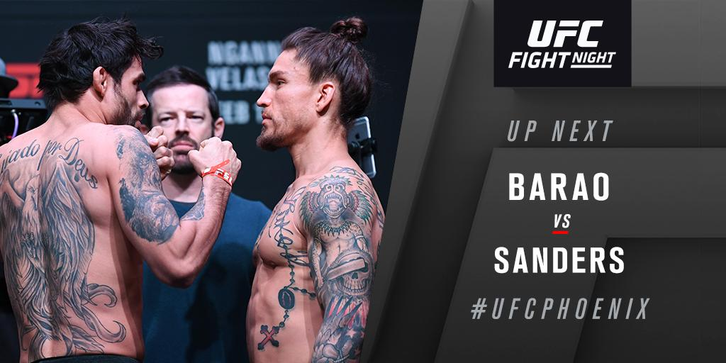 And on we roll on!  Closing the @ESPN+ early prelims, @RenanBaraoUFC vs @CoolhandMMA. #UFCPhoenix