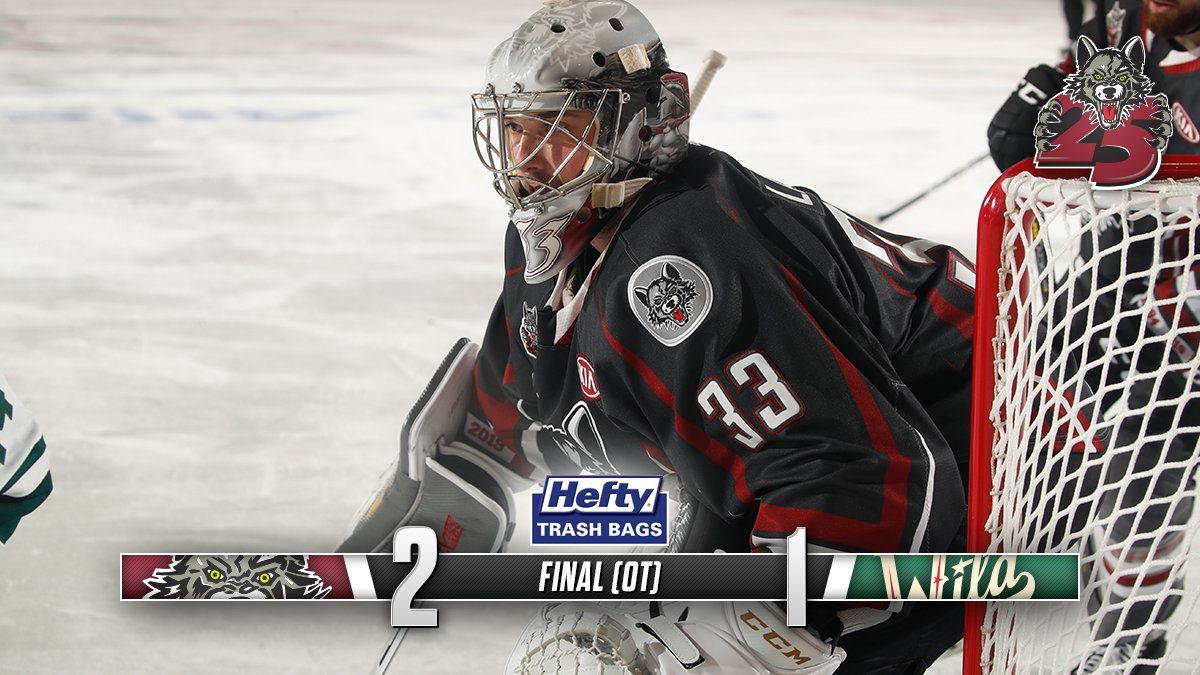 WOLVES WIN!! True nail-biter today, but the Wolves defeat the Wild 2-1 in OT.   #Wolves25 #IAvsCHI
