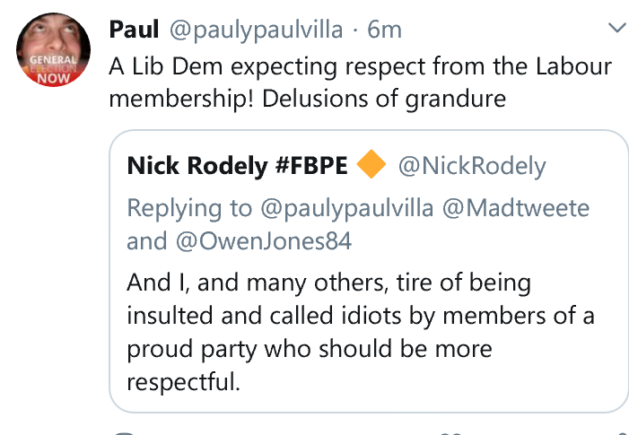 Nice to see the Corbyn-loving far left being as respectful as ever.