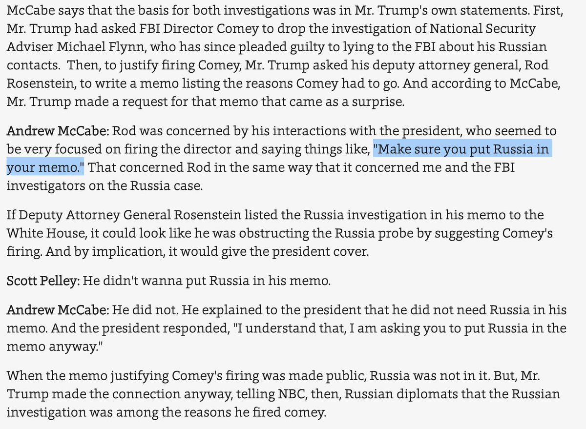 According to McCabe, Trump ordered Rosenstein to prepare a Comey firing memo that included the Russia investigation--a strange request that wasn't honored. He got a memo back that was all about Comey's handling of the Clinton email investigation. https://www.cbsnews.com/news/andrew-mccabe-60-minutes-interview-full-transcript-watch-acting-fbi-director-trump-investigation-james-comey-russia-investigation-2019-02-17/…