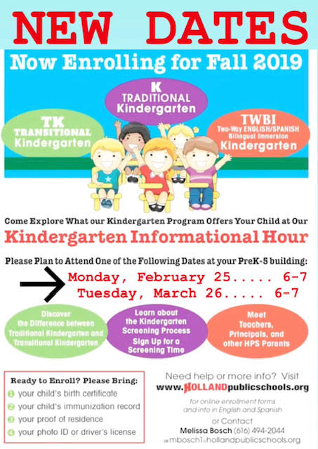 After two cancelations due to inclement weather, we have TWO NEW DATES FOR Kindergarten Informational Hour.  #hollandlanguageacademy #hpsproud