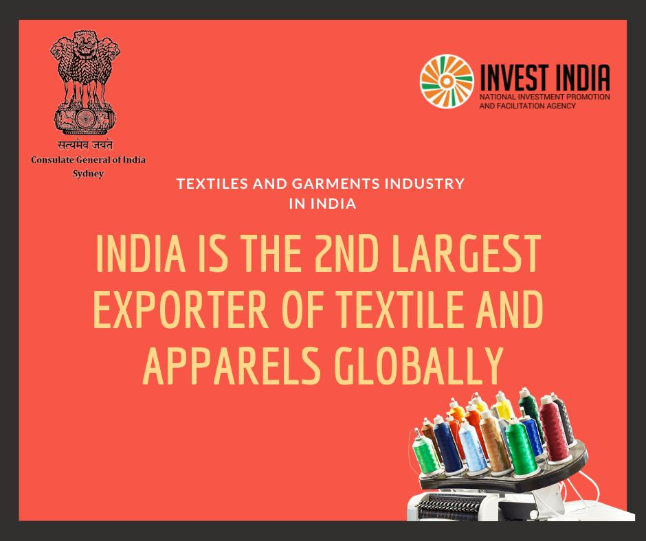 Domestic Textile and |Apparel industry contributes 2% to India's GDP and accounts for 14% of industrial production, 27% of the country's foreign exchange inflows and 13% of country's export earnings. #MakeInIndia