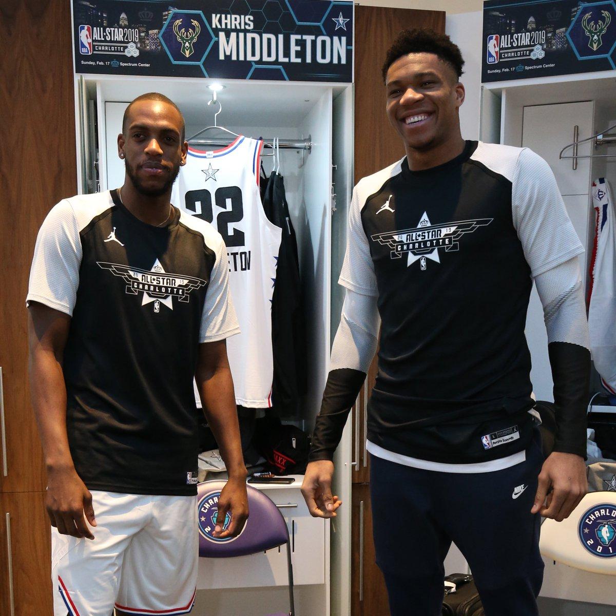 #TeamGiannis teammates. Milwaukee brothers.   #Giannis | #KhrisMiddleton | #NBAAllStar