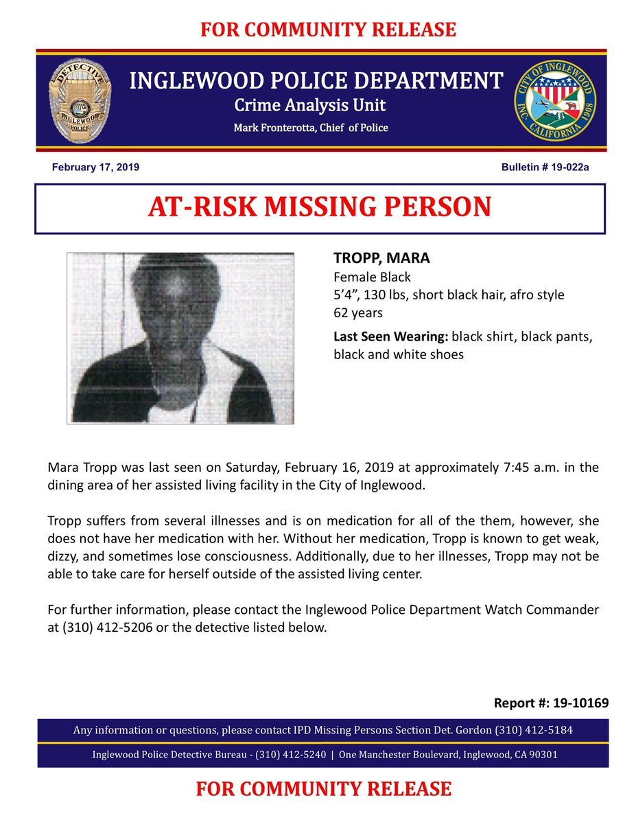 newsrelease - At-Risk Missing Person - Report #: 19-10169