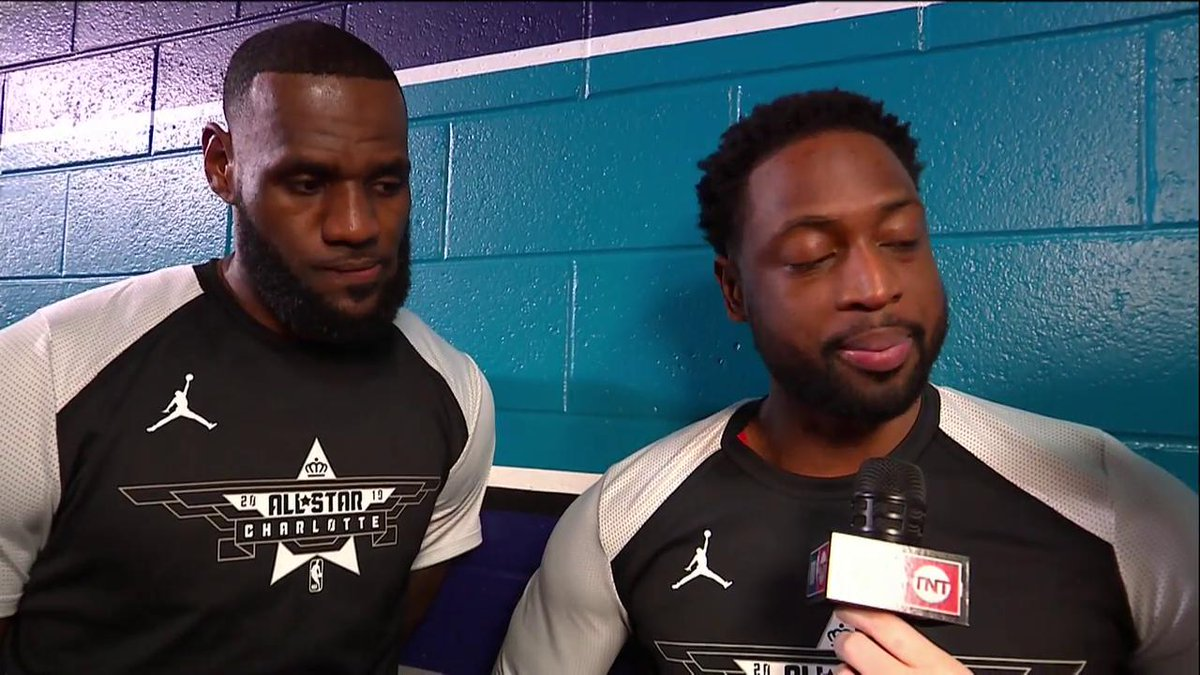 """""""I got to leak out in front of him. I ain't as quick as I used to be.""""   Bron and D-Wade talk last #NBAAllStar game together and when we can expect a lob.   (via @NBAonTNT)"""